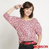 BOBSON 女款連袖迷彩七分袖上衣(粉紅22098-10)