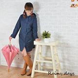Rainy days米蘭風尚ALine修身款風雨衣/風衣/雨衣 (101藍圓點)