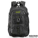 【AOKANA奧卡納】台灣扣具 炫黑後背包 電腦後背包(綠字68-073)