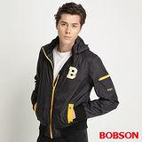 BOBSON 男款織帶配色防風外套(黑34030-88)