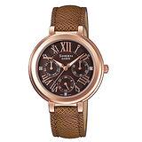 CASIO SHEEN 晨曦細語氣質晶鑽腕錶-咖啡x皮帶
