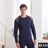【HENIS】時尚型男速暖絨拼接圓領長袖上衣~2件組(隨機取色)