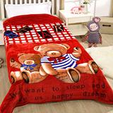 戀香 細絨保暖中毛毯-艷紅熊