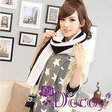 【Decoy】流星條紋*加厚編織圍巾/黑