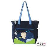 ABS貝斯貓 可愛貓咪伴鯨魚 拼布肩提包(海洋藍)88-054