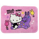【享夢城堡】HELLO KITTY & RODY 我的好朋友 法蘭絨地墊2入