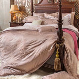 義大利La Belle《優雅旋律》雙人天竹緹印花四件式防蹣抗菌舖棉兩用被床包組