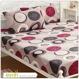 【eyah】珍珠搖粒絨雙人床包枕套三件組-戀色圓舞-灰