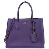PRADA Double Bag系列防刮牛皮肩背/手提托特包(大/紫)