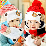 韓版小熊三色護耳帽組