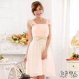 【白色戀人中大尺碼】粉色荷葉袖方領禮服小洋裝