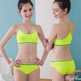 【Naya Nina】玩色!撞色彩條無縫低腰內褲S-XL(螢光綠)