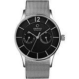 OBAKU 銀河天際雙眼時尚腕錶-黑x銀米蘭帶