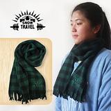 【SNOW TRAVEL】高級保暖透氣圍巾/下擺流蘇設計.高透氣.保暖/綠黑格紋 VO-30