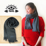 【SNOW TRAVEL】高級保暖透氣圍巾/下擺流蘇設計.高透氣.保暖/藍灰色 VO-30