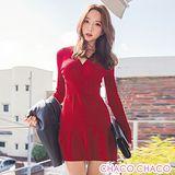 預購【CHACO韓國】ERANZI時尚V領修身魚尾小裙擺彈性針織洋裝(2色free)
