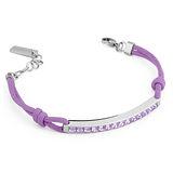 Brosway Starlet 施華洛世奇元素白方鑽紫繩不鏽鋼手鍊