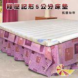 凱蕾絲帝 台灣製造-釋壓記憶5CM天然純棉記憶床墊 單人七尺