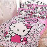 名流寢飾 Hello Kitty精梳棉兩用被床包組 雙人5*6.2尺