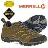 【美國 MERRELL】男新款 Moab GORE-TEX 多功能登山健走鞋 棕 21461