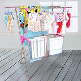 【LIFECODE】小太陽-免螺絲X型曬衣架附毛巾架(桃紅色) 送曬鞋架