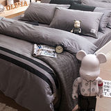 OLIVIA《設計師原創系列 SMITH 灰黑》加大雙人兩用被套床包四件組