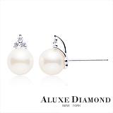 A-LUXE 亞立詩 日本AKOYA 7.5mm 珍珠美鑽耳環