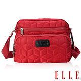 ELLE 優雅淑媛立體緹花壓紋ipad扣層 橫式休閒側背包設計款-紅EL83432-01