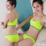 【Naya Nina】玩色!中度級運動內衣褲組(Y字背+三角)-螢光綠