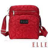 ELLE 優雅淑媛立體緹花壓紋ipad扣層/10吋皆可入直式休閒側背包設計款-紅EL83433-01