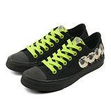 【PONY】女 經典時尚帆布鞋 SHOOTER 笑笑羊系列 黑綠 51U1SH61BK