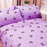 名流寢飾 100%精梳棉雙人加大床包組 -蝴蝶結派對
