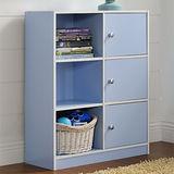 【Yomei】DIY弗雷六格三門櫃/書櫃/置物櫃/收納櫃(藍色)