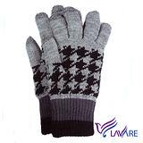 Lavender-i-Touch觸控雙層手套-千鳥紋-灰色(男)