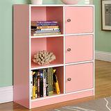 【Yomei】DIY\弗雷六格三門櫃/書櫃/置物櫃/收納櫃(粉色)