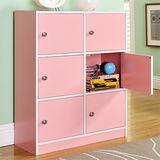 【Yomei】DIY輕鬆收納六門櫃/書櫃/置物櫃/收納櫃(粉色)