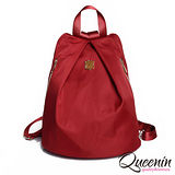 DF Queenin日韓 - 日本熱銷款百搭休閒尼龍質感後背包-紅色