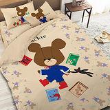 【享夢城堡】小熊學校 讀書樂系列-單人三件式床包薄被套組(綠&卡其)