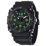 JAGA 捷卡 AQ934-AF 運動休閒風指針錶-黑綠/52mm