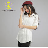 玄太-氣質柔感長版反摺袖上衣(白)