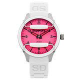 Superdry極度乾燥 Scuba系列英式休閒復古腕錶-桃紅x白