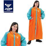 【JUMP】前開配色連身型休閒風雨衣(2XL~4XL)