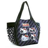 DF Queenin日韓 - Hello Kitty x KISS系列帆布購物袋黑底條紋經典款