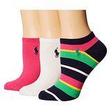 Ralph Lauren 2015女馬球腳踝紅黑遊艇條紋短襪混搭3入組【預購】