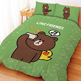 【享夢城堡】LINE FRIENDS 熊大愛自拍系列-單人三件式床包薄被套組(綠)(灰)