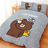 【享夢城堡】LINE FRIENDS 熊大愛自拍系列-雙人四件式床包兩用被組(綠)(灰)