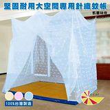 凱蕾絲帝 大空間專用6尺床墊耐用針織蚊帳(開單門) -粉藍