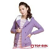 【TOP GIRL】氣質雙排釦棉質連帽外套 (愛戀紫)