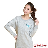 【TOP GIRL】女生帥氣貼布盾牌長版TEE (輕盈灰)