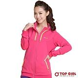 【TOP GIRL】彩虹跳色針織連帽外套 (甜心桃)